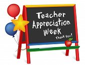 Teacher Appreciation Week, First Full Week Of May, Thank You, Stars And Balloons, Apple For The Teac poster
