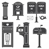 Vintage Street Mail Post Boxes And Mailboxes Icons. Outline Monochrome Letterboxes With Envelope And poster