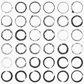 Hand Drawn Grunge Brushed Ring Texture. Distress Label, Logo Design Aged Element. Big Bundle Collect poster