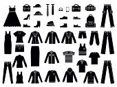 Monochrome Illustrations Of Clothes For Male And Female. Vector Clothes Fashion, Clothing Accessorie poster