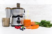 Preparing Juice From Fresh Fruits And Vegetables. Electric Juicer, Healthy Lifestyle Concept poster