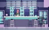 Bartender On Bar Counter, Barkeeper Man Over Bottles Of Alcohol And Glasses On Background Flat Vecto poster