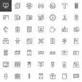 Office Tools Outline Icons Set. Linear Style Symbols Collection, Line Signs Pack. Vector Graphics. S poster