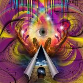 Psychedelic Abstract. Eye of God. Hands of prayer. 3D rendering poster
