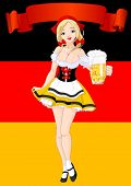 Vertical  Oktoberfest Celebration Background with girl serving beer