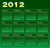 2012 Vector Monthly Calendar on Green Gradation.
