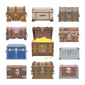 Chest Vector Treasure Box With Gold Money Wealth Or Wooden Pirate Chests With Golden Coins Illustrat poster
