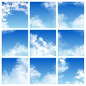 Sky Pattern Vector Cloudy Backdrop And Blue Clouded Skyline Heaven Wallpaper Illustration Set Of Clo poster