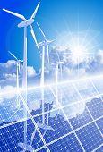 Concepto de ecología: generadores eólicos, sistemas de energía solar & cielo azul. Mapa de bits copiar mi vector ID 52