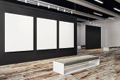 Clean Exhibition Hall With Empty Poster And Bench. Gallery, Art, Exhibit And Museum Concept. Mock Up poster