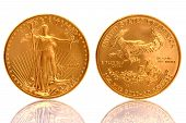 pic of coins  - The American Gold Eagle Coin is an official gold bullion coin of the United States it is minted in 22 karat gold - JPG