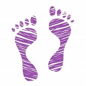 Sketched Human Footprints, Stylized Scratched Footstep, Hatched Man Steps, Trials And Traces, Vector poster