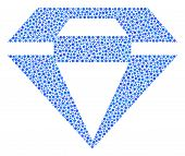 Diamond Mosaic Of Dots In Different Sizes And Color Tinges. Small Circles Are Organized Into Diamond poster