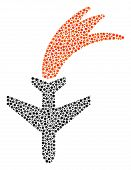 Falling Airplane Collage Of Small Circles In Different Sizes And Color Hues. Round Dots Are Composed poster