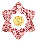 Flower Collage Of Round Dots In Various Sizes And Color Tinges. Round Dots Are Grouped Into Flower V poster
