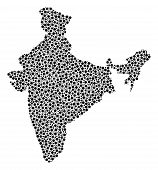 India Map Collage Of Round Dots In Various Sizes And Color Hues. Round Dots Are Composed Into India  poster