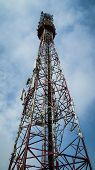 Telecommunication Mast Tv Antennas Wireless Technology With Blue Sky In The Morning poster