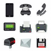 Phone Mobile Fax Printer Pager Beeper Letter Mail Disk Communication Object Vector poster