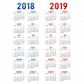 Calendar Planner Happy New Year 2018 & 2019 Greeting Card Text Typography Design Vector poster