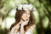 Closeup Brunette Bride With Fashion Wedding Hairstyle And Makeup. Wedding Day Of Bride. Closeup Beau poster