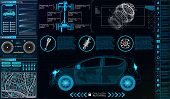Car Infographics. Hud For The Application. Virtual Graphical Interface Ui Hud Autoscanning, Analysis poster