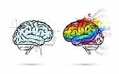 Technical And Art Hemispheres On Human Brain In Side View, Left And Right Brain Functions Concept Is poster