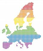 Vector Homosexual Tolerance European Union Map In Lgbt Flag Colors On A White Background. Multicolor poster