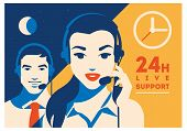 Call Center Operator With Headset Vector Retro Poster. Call Center Avatar. Client Services And Commu poster
