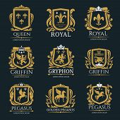 Heraldry Vector Logo Set. Gryphon Royal Logo For Vip Hotel, Restaurant Or Any Business. Griffin Icon poster
