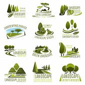 Landscape Design Studio Icon Set. Landscaping And Gardening Service Company Emblem With Summer Park  poster