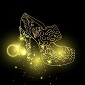 Starry Lady Sandals Or Woman T-strap, Shining Girl Shoes. Golden Female Boots With Blinking Stars, W poster