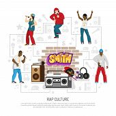 Rap Music Culture Symbols Flat Background Poster With Singers Performers Retro Accessories Brick Wal poster