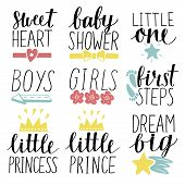 Set Of 9 Children Logo With Handwriting Little Prince, Princess, Boys, Girls, Sweet Heart, Baby Show poster