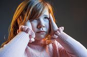 The Anger And Surprised Teen Girl. Hate, Rage. Crying Emotional Angry Teenager In Colorful Bright Li poster