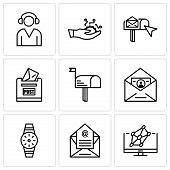 Set Of 9 Simple Editable Icons Such As Hologram, Email, Smartwatch, Id And Mail, Mail, Post Box, Ema poster