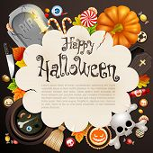 Halloween card with different objects and place for text.