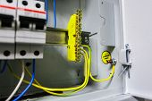 Electrical Yellow Green Ground Wires Is Connected To Ground Copper Bar Or Earth Bonding Bar In Metal poster