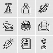 Set Of 9 Simple Editable Icons Such As Air Balloon, Contact Book, Remote Control, Email, Binary Code poster