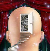 Doorway opens to gears in mind. 3D rendering poster