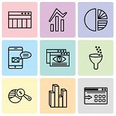 Set Of 9 Simple Editable Icons Such As Data Export With An Arrow, Stream Graphic, Pie Chart Analysis poster