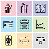 Set Of 9 Simple Editable Icons Such As Data Settings, Connected Folder Data, Mobile Phone Globally C poster