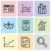 Set Of 9 Simple Editable Icons Such As Magnifier Tool, Bars Chart Page, Data Wave Chart, Bars And Da poster