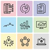 Set Of 9 Simple Editable Icons Such As Laptop Analysis, Data Interconnected, User Data Analytics, Cl poster
