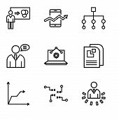 Set Of 9 Simple Editable Icons Such As User Data Analytics, Strategy Sketch, Triangular Pyramid, Dat poster