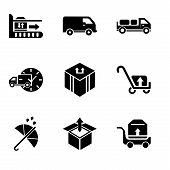 Set Of 9 Simple Editable Icons Such As Package Transportation On A Trolley, Delivery Box Package Ope poster