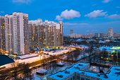 Evening Winter View Of The Environmentally Friendly Comfortable Residential District In Moscow. Busi poster