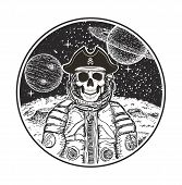 Astronaut Space Pirate Vector Hand Drawn Illustration. Human Skull In Spacesuit, Pirate Captain Hat  poster