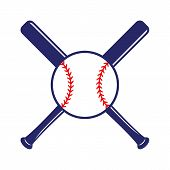 Baseball Crossed Bats With Ball. Criss Cross Bats. Flat Vector Illustration poster