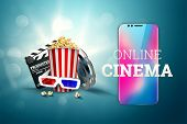 Online Movies, Cinemas, An Image Of Popcorn, 3D Glasses, A Movie Film And A Blackboard On A Blue Bac poster