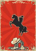 Cowboy On Horse.vector Red Poster Background For Text
